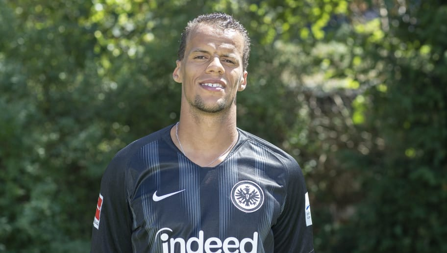FRANKFURT AM MAIN, GERMANY - JULY 26: Timothy Chandler of Eintracht Frankfurt poses during the team presentation at Training Ground Wintersporthalle on July 26, 2018 in Frankfurt am Main, Germany. (Photo by Christof Koepsel/Bongarts/Getty Images)