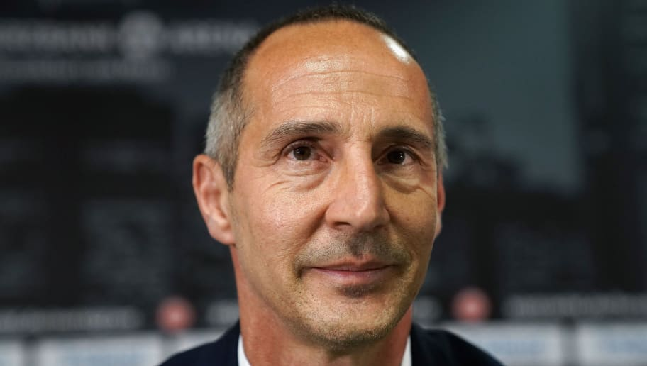 FRANKFURT AM MAIN, GERMANY - MAY 30:  Adi Huetter talks to journalists during his presentation as new head coach of Eintracht Frankfurt at Commerzbank-Arena on May 30, 2018 in Frankfurt am Main, Germany.  (Photo by Alex Grimm/Bongarts/Getty Images)