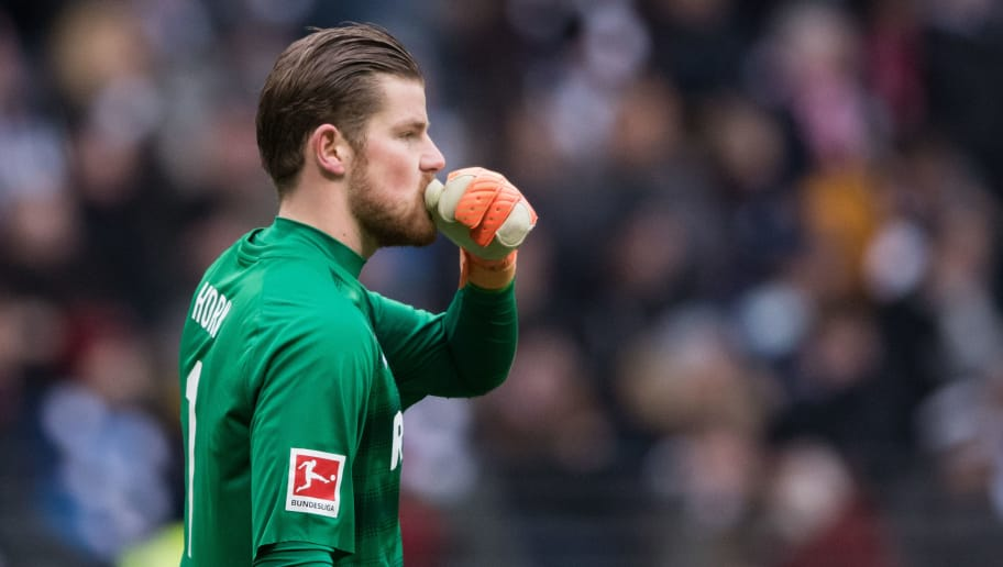 FRANKFURT AM MAIN, GERMANY - FEBRUARY 10: Timo Horn of Koeln reacts during the Bundesliga match between Eintracht Frankfurt and 1. FC Koeln at Commerzbank-Arena on February 10, 2018 in Frankfurt am Main, Germany. (Photo by Simon Hofmann/Bongarts/Getty Images)