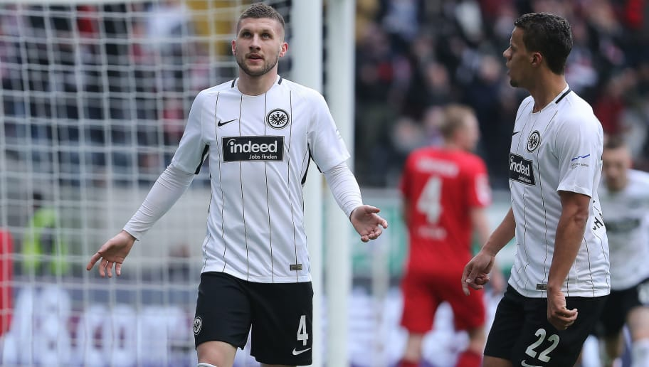 FRANKFURT AM MAIN, GERMANY - FEBRUARY 10: Ante Rebic of Frankfurt celebrates after he scored a goal to make it 1:0 during the Bundesliga match between Eintracht Frankfurt and 1. FC Koeln at Commerzbank-Arena on February 10, 2018 in Frankfurt am Main, Germany. (Photo by Simon Hofmann/Bongarts/Getty Images)