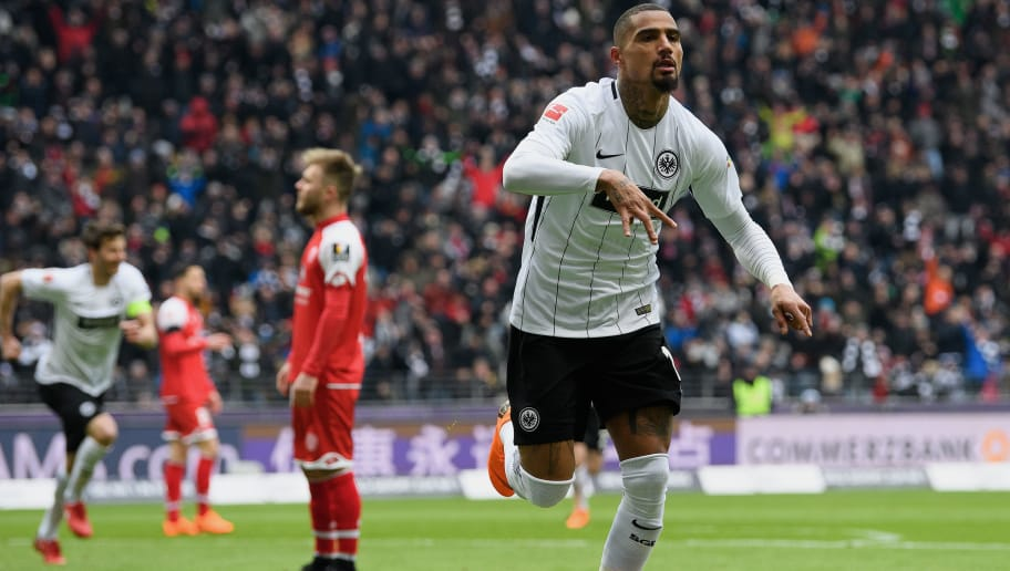 FRANKFURT AM MAIN, GERMANY - MARCH 17: Kevin-Prince Boateng of Frankfurt celebrates after scoring his team's first goal during the Bundesliga match between Eintracht Frankfurt and 1. FSV Mainz 05 at Commerzbank-Arena on March 17, 2018 in Frankfurt am Main, Germany. (Photo by Matthias Hangst/Bongarts/Getty Images)