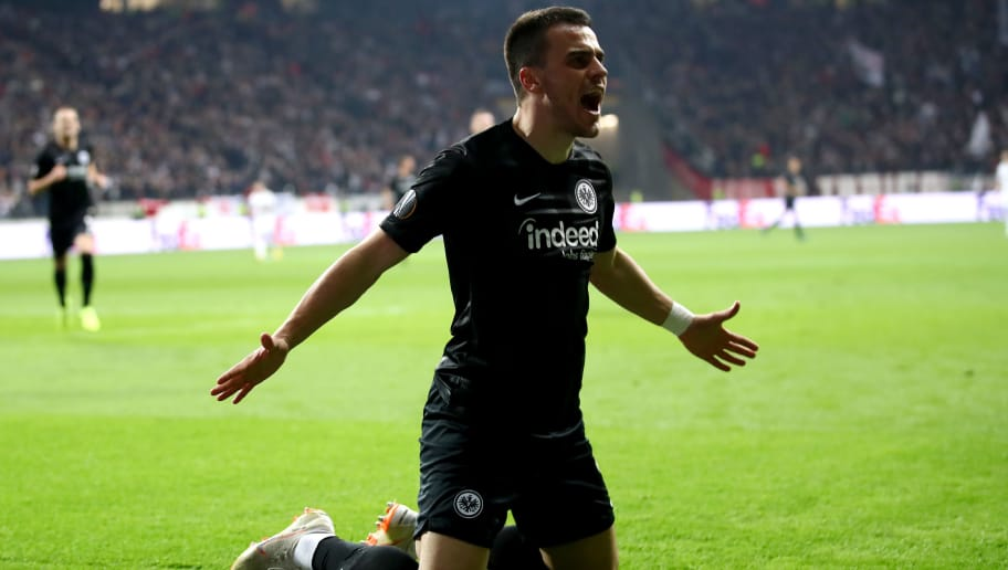 FRANKFURT AM MAIN, GERMANY - OCTOBER 25:  Filip Kostic of Eintracht Frankfurt celebrates after scoring his sides first goal during the UEFA Europa League Group H match between Eintracht Frankfurt and Apollon Limassol at Commerzbank-Arena on October 25, 2018 in Frankfurt am Main, Germany.  (Photo by Alex Grimm/Bongarts/Getty Images)