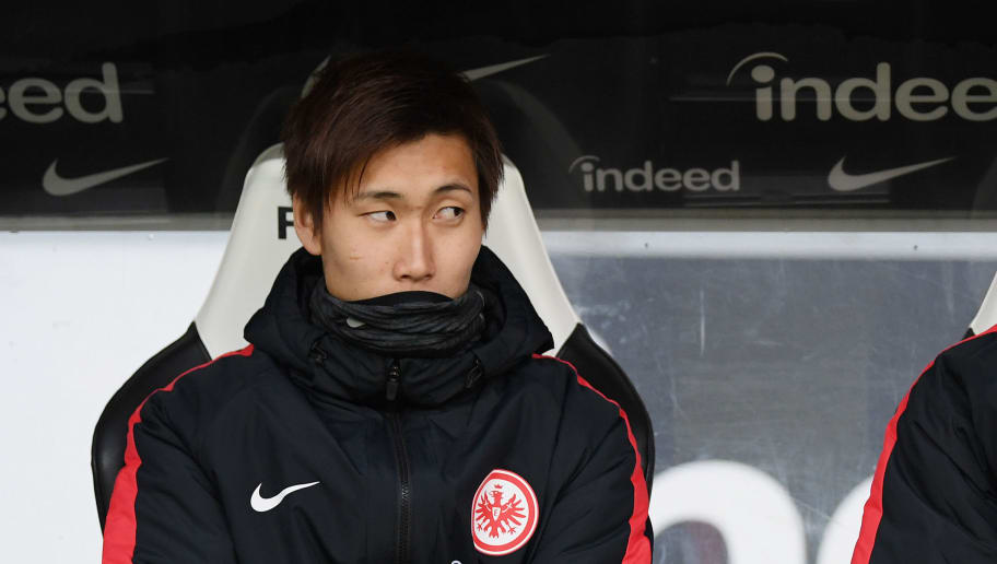 FRANKFURT AM MAIN, GERMANY - NOVEMBER 25: Kamada Daichi and Makoto Hasebe of Frankfurt seen during the Bundesliga match between Eintracht Frankfurt and Bayer 04 Leverkusen at Commerzbank-Arena on November 25, 2017 in Frankfurt am Main, Germany. (Photo by Matthias Hangst/Bongarts/Getty Images)