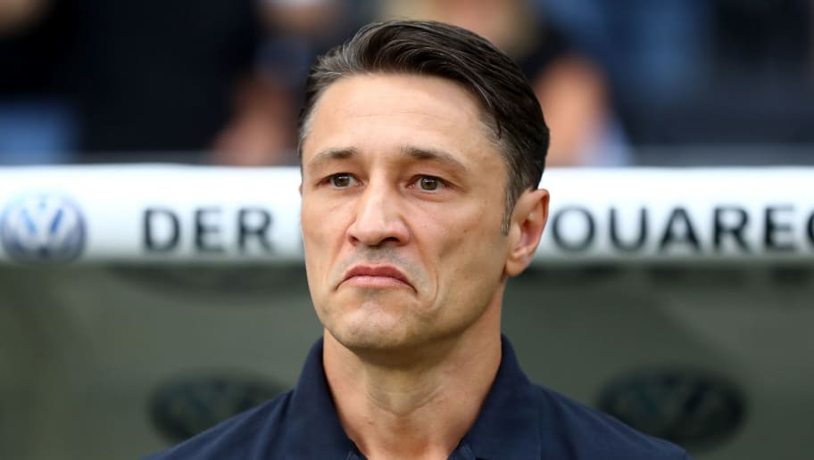 FRANKFURT AM MAIN, GERMANY - AUGUST 12:  Niko Kovac, head coach of Muenchen reacts before the DFL Supercup 2018 between Eintracht Frankfurt and Bayern Muenchen at Commerzbank-Arena on August 12, 2018 in Frankfurt am Main, Germany.  (Photo by Martin Rose/Bongarts/Getty Images)