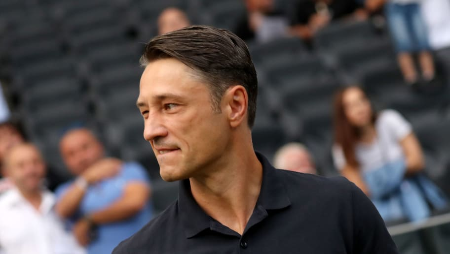 FRANKFURT AM MAIN, GERMANY - AUGUST 12: Head coach Niko Kovac of Bayern looks on prior to the DFL Supercup match between Eintracht Frankfurt an Bayern Muenchen at Commerzbank-Arena on August 12, 2018 in Frankfurt am Main, Germany. (Photo by Christof Koepsel/Bongarts/Getty Images)