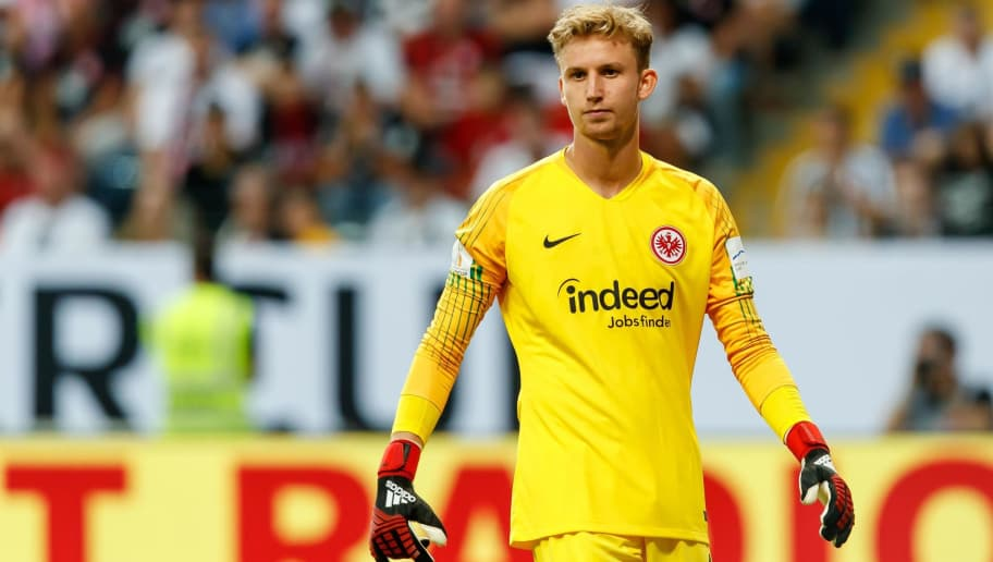 FRANKFURT AM MAIN, GERMANY - AUGUST 12: Goalkeeper Frederik Roennow of Eintracht Frankfurt looks on during the DFL Supercup match between Eintracht Frankfurt and Bayern Muenchen at Commerzbank-Arena on August 12, 2018 in Frankfurt am Main, Germany. (Photo by TF-Images/Getty Images)