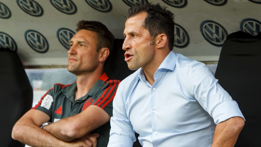 FRANKFURT AM MAIN, GERMANY - AUGUST 12: Sporting director Hasan Salihamidzic of Bayern Muenchen looks on prior to the DFL Supercup match between Eintracht Frankfurt and Bayern Muenchen at Commerzbank-Arena on August 12, 2018 in Frankfurt am Main, Germany. (Photo by TF-Images/Getty Images)