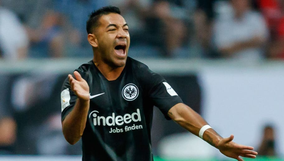 FRANKFURT AM MAIN, GERMANY - AUGUST 12: Marco Fabian of Eintracht Frankfurt gestures during the DFL Supercup match between Eintracht Frankfurt and Bayern Muenchen at Commerzbank-Arena on August 12, 2018 in Frankfurt am Main, Germany. (Photo by TF-Images/Getty Images)