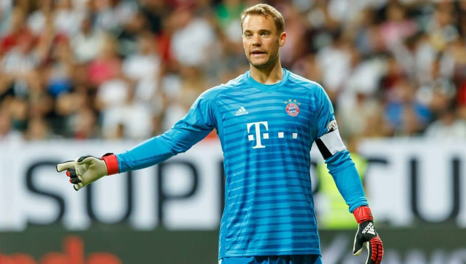 FRANKFURT AM MAIN, GERMANY - AUGUST 12: Goalkeeper Manuel Neuer of Bayern Muenchen gestures during the DFL Supercup match between Eintracht Frankfurt and Bayern Muenchen at Commerzbank-Arena on August 12, 2018 in Frankfurt am Main, Germany. (Photo by TF-Images/Getty Images)