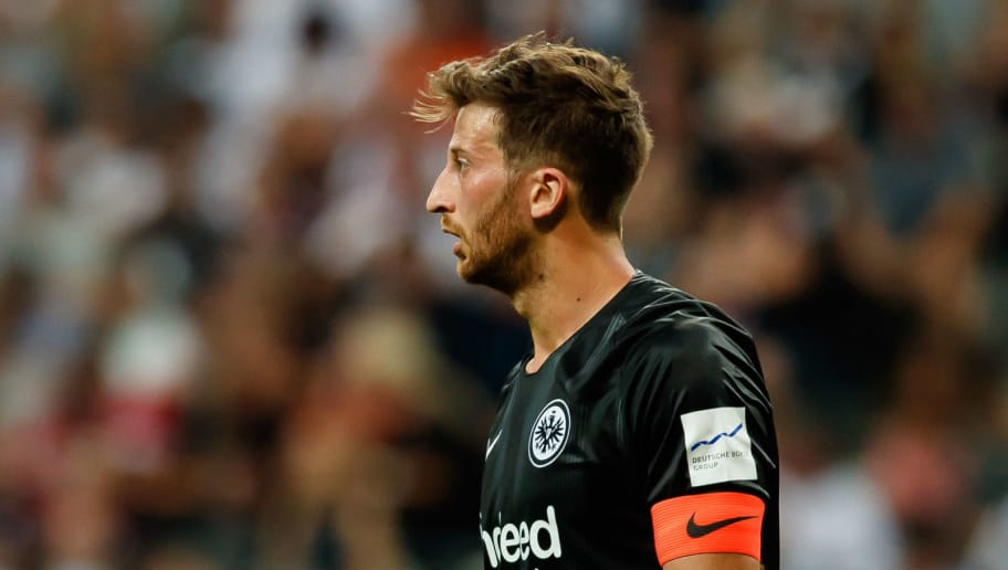 FRANKFURT AM MAIN, GERMANY - AUGUST 12: David Angel Abraham of Eintracht Frankfurt looks on during the DFL Supercup match between Eintracht Frankfurt and Bayern Muenchen at Commerzbank-Arena on August 12, 2018 in Frankfurt am Main, Germany. (Photo by TF-Images/Getty Images)