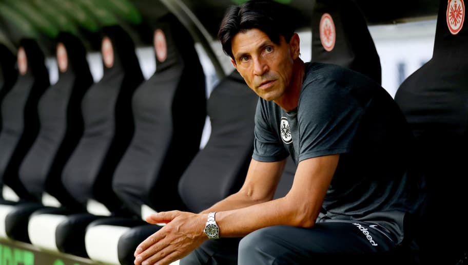 FRANKFURT AM MAIN, GERMANY - AUGUST 12:  Bruno Huebner, sport director of Frankfurt looks on before the DFL Supercup 2018 between Eintracht Frankfurt and Bayern Muenchen at Commerzbank-Arena on August 12, 2018 in Frankfurt am Main, Germany.  (Photo by Martin Rose/Bongarts/Getty Images)