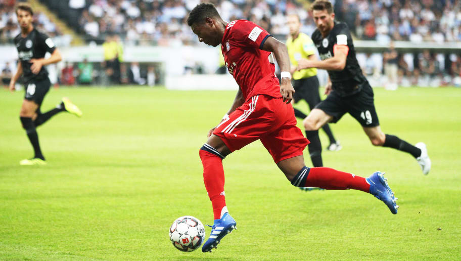 FRANKFURT AM MAIN, GERMANY - AUGUST 12:  David Alaba of Bayern Munich controls the ball during the DFL Supercup 2018 match between Eintracht Frankfurt and Bayern Muenchen at Commerzbank-Arena on August 12, 2018 in Frankfurt am Main, Germany.  (Photo by Adam Pretty/Bongarts/Getty Images)