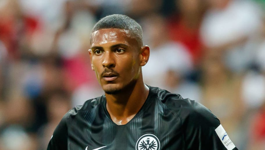 FRANKFURT AM MAIN, GERMANY - AUGUST 12: Sebastien Haller of Eintracht Frankfurt looks on during the DFL Supercup match between Eintracht Frankfurt and Bayern Muenchen at Commerzbank-Arena on August 12, 2018 in Frankfurt am Main, Germany. (Photo by TF-Images/Getty Images)