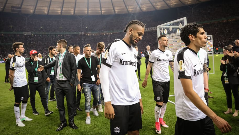BERLIN, GERMANY - MAY 27: Team of Frankfurt react during the medal ceremony after the DFB Cup final match between Eintracht Frankfurt and Borussia Dortmund at Olympiastadion on May 27, 2017 in Berlin, Germany. (Photo by Maja Hitij/Bongarts/Getty Images)