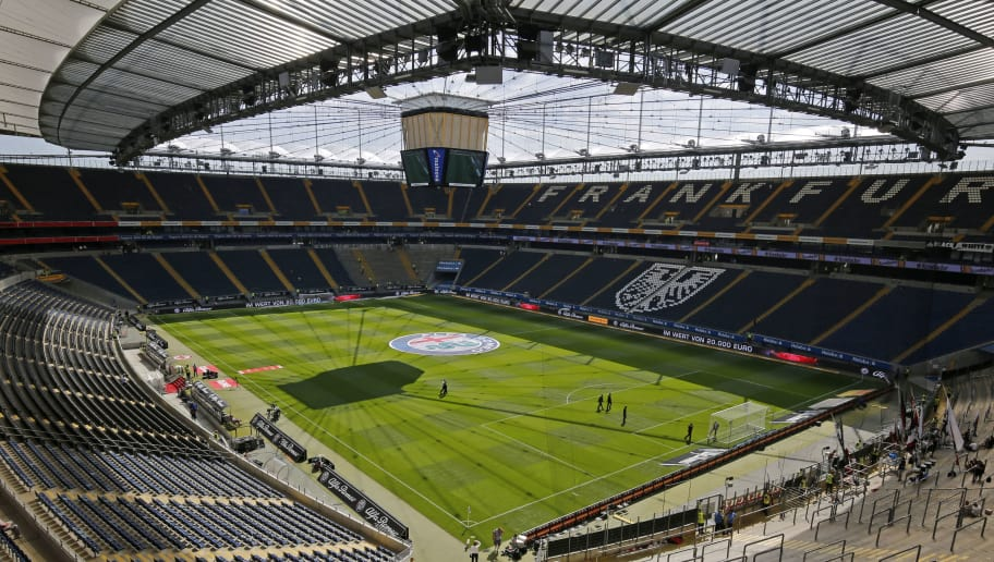 FRANKFURT AM MAIN, GERMANY - AUGUST 22: Inside of the stadion ahead of the Bundesliga match between Eintracht Frankfurt and FC Augsburg at Commerzbank-Arena on August 22, 2015 in Frankfurt am Main, Germany. (Photo by Ronald Wittek/Bongarts/Getty Images)