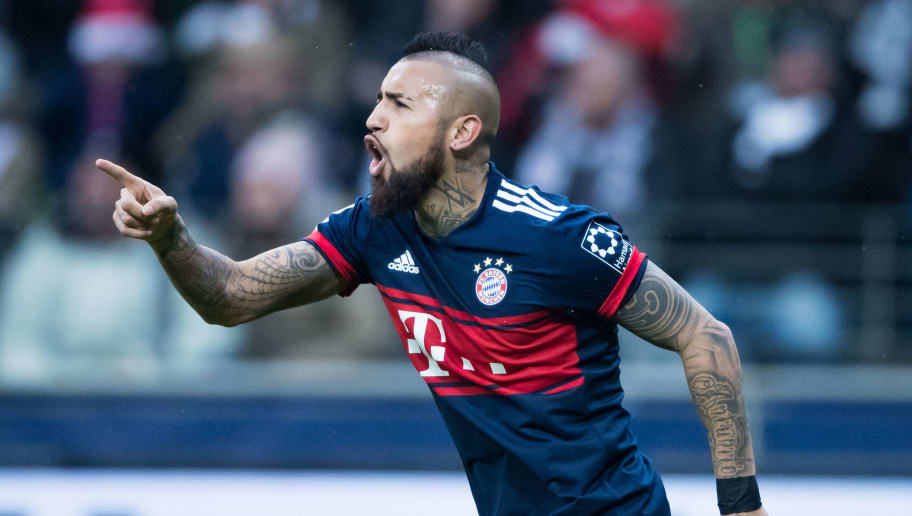 FRANKFURT AM MAIN, GERMANY - DECEMBER 09: Arturo Vidal of Muenchen celebrates after scoring his team's first goal during the Bundesliga match between Eintracht Frankfurt and FC Bayern Muenchen at Commerzbank-Arena on December 9, 2017 in Frankfurt am Main, Germany. (Photo by Simon Hofmann/Getty Images)