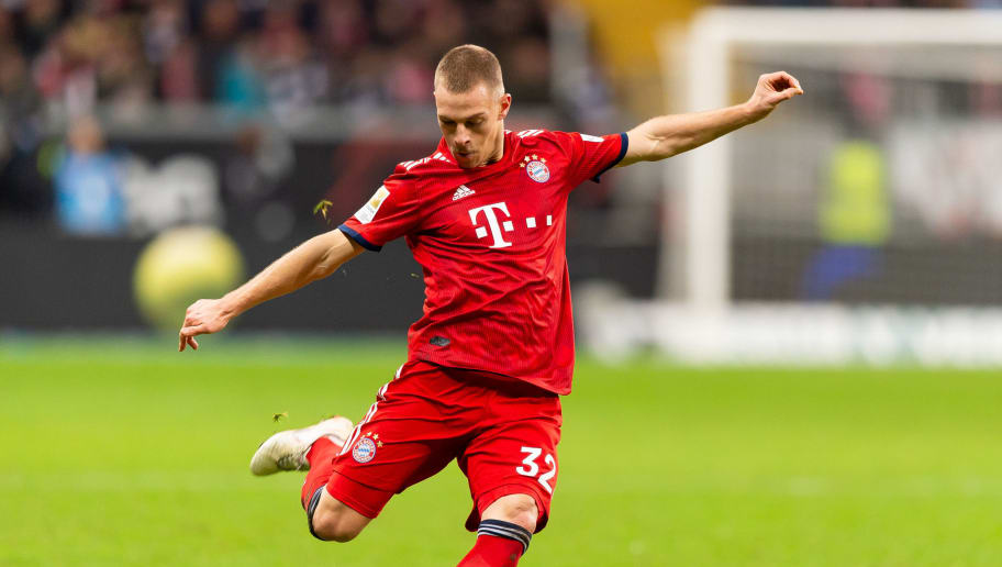 FRANKFURT AM MAIN, GERMANY - DECEMBER 22: Joshua Kimmich of Bayern Muenchen controls the ball during the Bundesliga match between Eintracht Frankfurt and FC Bayern Muenchen at Commerzbank-Arena on December 22, 2018 in Frankfurt am Main, Germany. (Photo by TF-Images/TF-Images via Getty Images)