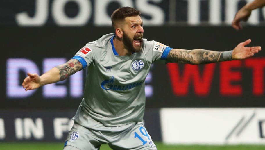 FRANKFURT AM MAIN, GERMANY - NOVEMBER 11:  Guido Burgstaller of FC Schalke 04 reacts during the Bundesliga match between Eintracht Frankfurt and FC Schalke 04 at Commerzbank-Arena on November 11, 2018 in Frankfurt am Main, Germany.  (Photo by Alex Grimm/Bongarts/Getty Images)