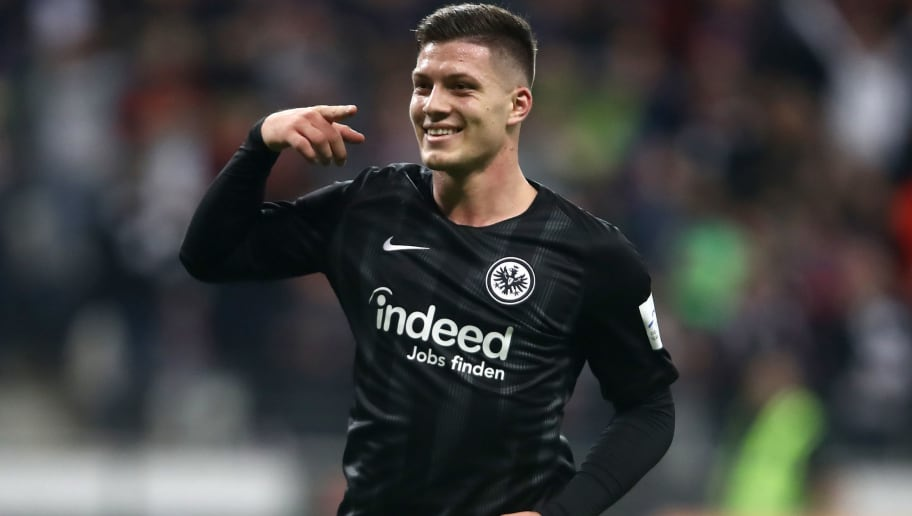 FRANKFURT AM MAIN, GERMANY - NOVEMBER 11:  Luka Jovic of Eintracht Frankfurt celebrates after scoring his team's second goal during the Bundesliga match between Eintracht Frankfurt and FC Schalke 04 at Commerzbank-Arena on November 11, 2018 in Frankfurt am Main, Germany.  (Photo by Alex Grimm/Bongarts/Getty Images)