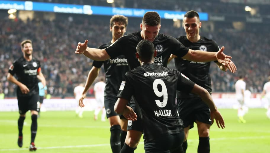 FRANKFURT AM MAIN, GERMANY - OCTOBER 19:  Luka Jovic of Eintracht Frankfurt celebrates after scoring his team's third goal with Sebastien Haller of Eintracht Frankfurt (9) during the Bundesliga match between Eintracht Frankfurt and Fortuna Duesseldorf at Commerzbank-Arena on October 19, 2018 in Frankfurt am Main, Germany.  (Photo by Alex Grimm/Bongarts/Getty Images)