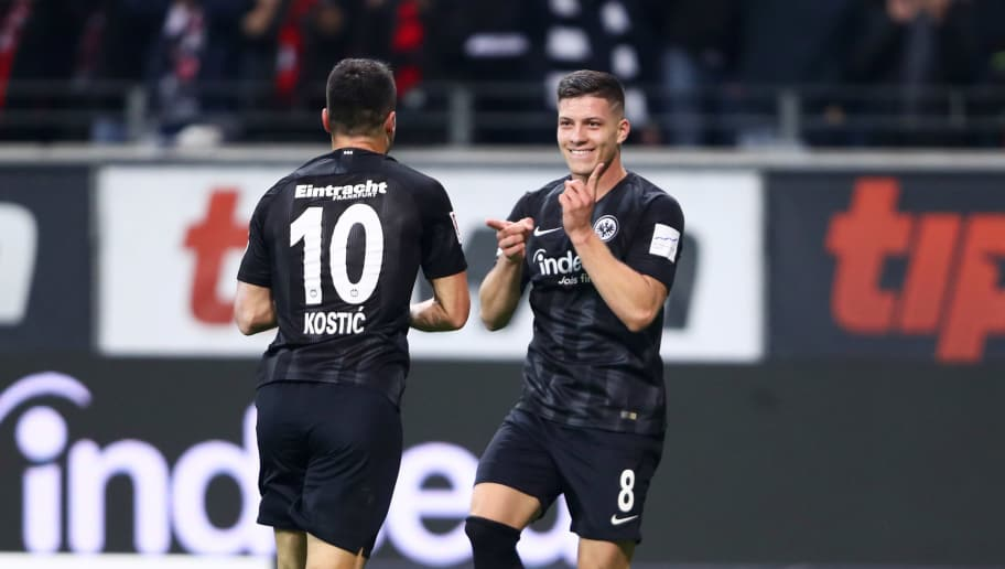 FRANKFURT AM MAIN, GERMANY - OCTOBER 19:  Luka Jovic of Eintracht Frankfurt (8) celebrates after scoring his team's fifth goal and completes his hat trick with Filip Kostic of Eintracht Frankfurt (10) during the Bundesliga match between Eintracht Frankfurt and Fortuna Duesseldorf at Commerzbank-Arena on October 19, 2018 in Frankfurt am Main, Germany.  (Photo by Alex Grimm/Bongarts/Getty Images)