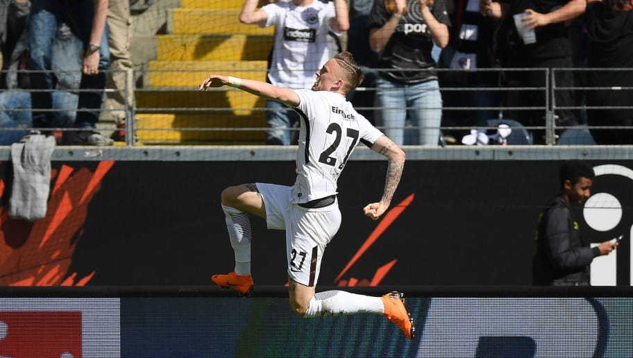 FRANKFURT AM MAIN, GERMANY - MAY 05: Marius Wolf of Frankfurt celebrates after he scored a goal to make it 1:0 during the Bundesliga match between Eintracht Frankfurt and Hamburger SV at Commerzbank-Arena on May 5, 2018 in Frankfurt am Main, Germany. (Photo by Matthias Hangst/Bongarts/Getty Images)