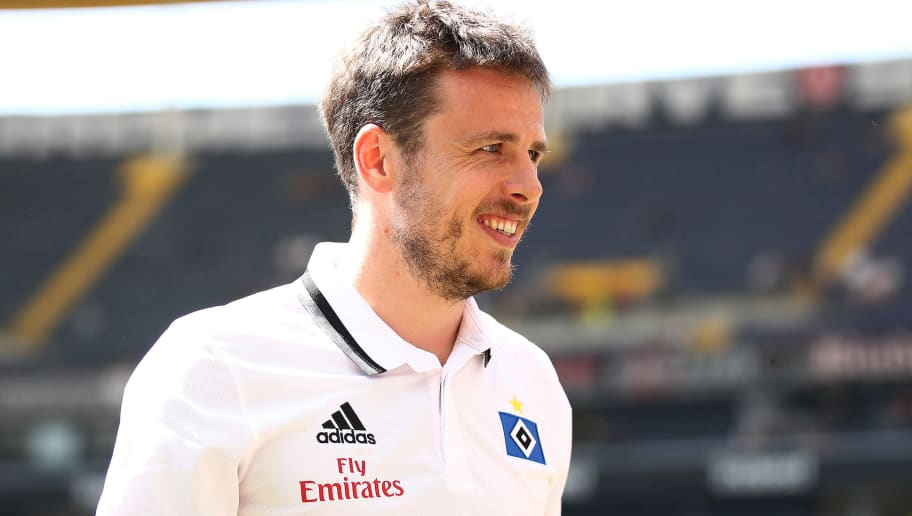 FRANKFURT AM MAIN, GERMANY - MAY 05: Nicolai Mueller of Hamburg looks on before the Bundesliga match between Eintracht Frankfurt and Hamburger SV at Commerzbank-Arena on May 5, 2018 in Frankfurt am Main, Germany. (Photo by Alex Grimm/Bongarts/Getty Images)