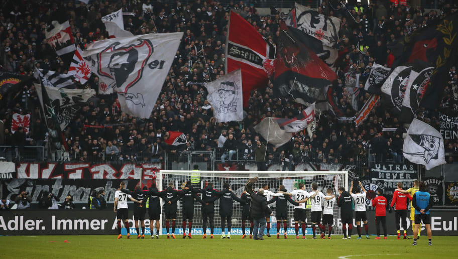 FRANKFURT AM MAIN, GERMANY - MARCH 03: Players of Frankfurt celebrate with their supporters after the Bundesliga match between Eintracht Frankfurt and Hannover 96 at Commerzbank-Arena on March 3, 2018 in Frankfurt am Main, Germany. (Photo by Maja Hitij/Bongarts/Getty Images)
