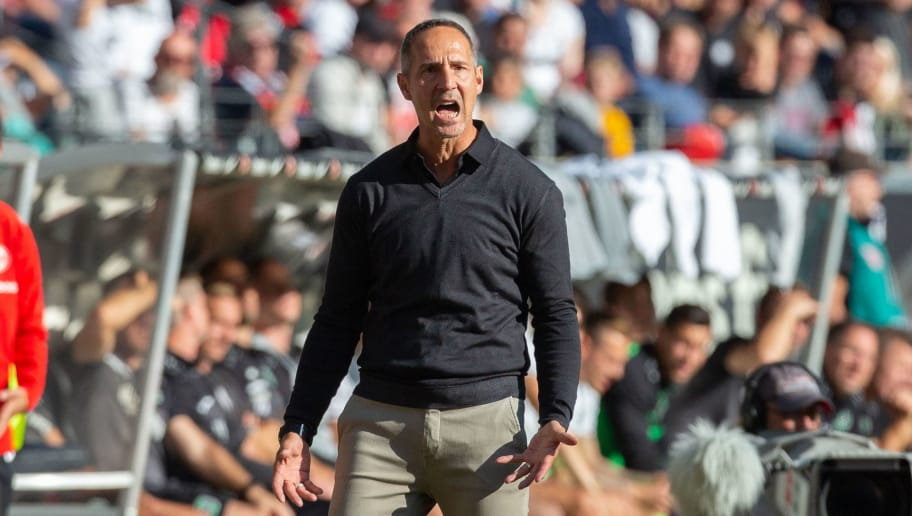 FRANKFURT AM MAIN, GERMANY - SEPTEMBER 30: Manager Adi Huetter of Frankfurt gives instructions during the Bundesliga match between Eintracht Frankfurt and Hannover 96 at Commerzbank-Arena on September 30, 2018 in Frankfurt am Main, Germany. (Photo by Juergen Schwarz/Bongarts/Getty Images)