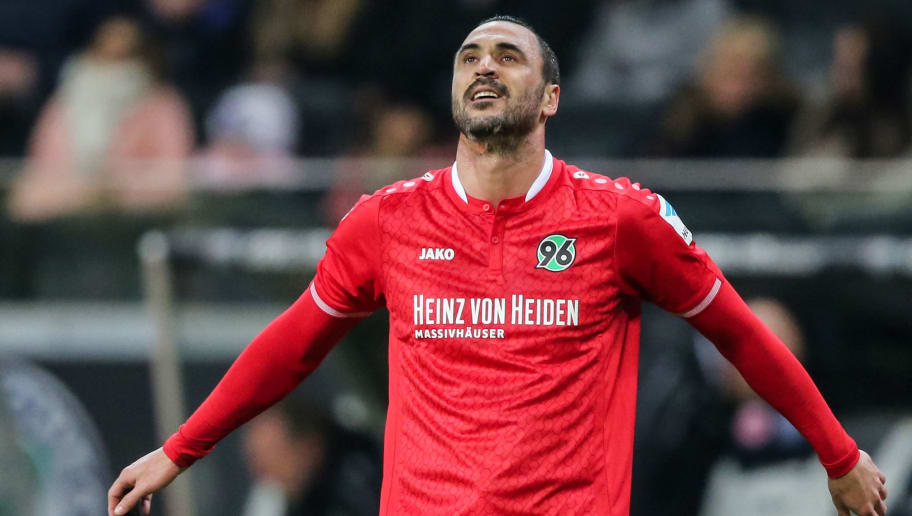 FRANKFURT AM MAIN, GERMANY - MARCH 19:  Hugo Almeida of Hannover reacts during the Bundesliga match between Eintracht Frankfurt and Hannover 96 at Commerzbank-Arena on March 19, 2016 in Frankfurt am Main, Germany.  (Photo by Simon Hofmann/Bongarts/Getty Images)
