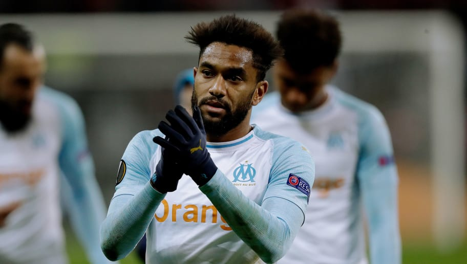 FRANKFURT, GERMANY - NOVEMBER 29: Jordan Amavi of Olympique Marseille  during the UEFA Europa League   match between Eintracht Frankfurt v Olympique Marseille at the Commerzbank Arena on November 29, 2018 in Frankfurt Germany (Photo by Jeroen Meuwsen/Soccrates/Getty Images)