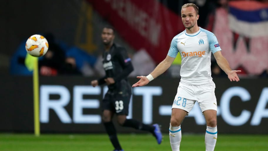 FRANKFURT, GERMANY - NOVEMBER 29: Valere Germain of Olympique Marseille  during the UEFA Europa League   match between Eintracht Frankfurt v Olympique Marseille at the Commerzbank Arena on November 29, 2018 in Frankfurt Germany (Photo by Jeroen Meuwsen/Soccrates/Getty Images)