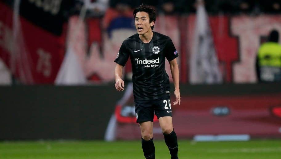 FRANKFURT, GERMANY - NOVEMBER 29: Makoto Hasebe of Eintracht Frankfurt  during the UEFA Europa League   match between Eintracht Frankfurt v Olympique Marseille at the Commerzbank Arena on November 29, 2018 in Frankfurt Germany (Photo by Jeroen Meuwsen/Soccrates/Getty Images)