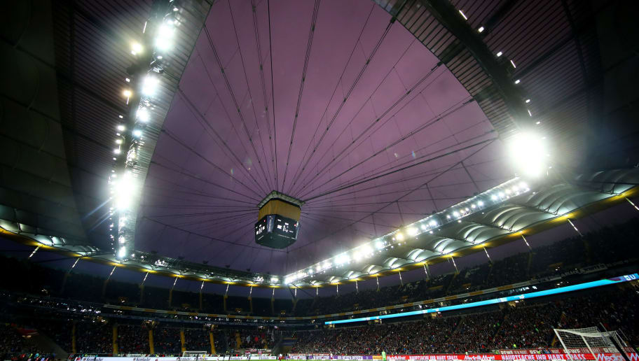 FRANKFURT AM MAIN, GERMANY - SEPTEMBER 23:  General view inside the stadium during the Bundesliga match between Eintracht Frankfurt and RB Leipzig at Commerzbank-Arena on September 23, 2018 in Frankfurt am Main, Germany.  (Photo by Alex Grimm/Bongarts/Getty Images)