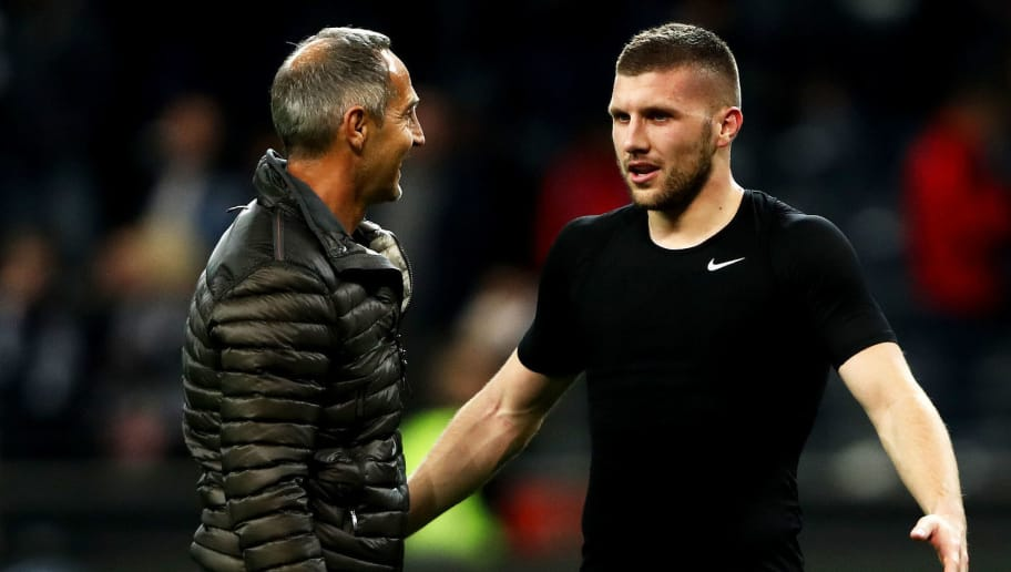 FRANKFURT AM MAIN, GERMANY - SEPTEMBER 23:  Ante Rebic of Eintracht Frankfurt (R) speaks with Adi Hütter, Manager of Eintracht Frankfurt following the Bundesliga match between Eintracht Frankfurt and RB Leipzig at Commerzbank-Arena on September 23, 2018 in Frankfurt am Main, Germany.  (Photo by Alex Grimm/Bongarts/Getty Images)