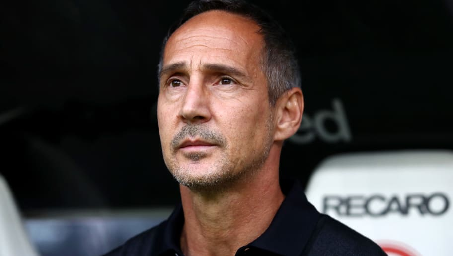 FRANKFURT AM MAIN, GERMANY - SEPTEMBER 23:  Adi Hütter, Manager of Eintracht Frankfurt looks on ahead of the Bundesliga match between Eintracht Frankfurt and RB Leipzig at Commerzbank-Arena on September 23, 2018 in Frankfurt am Main, Germany.  (Photo by Alex Grimm/Bongarts/Getty Images)