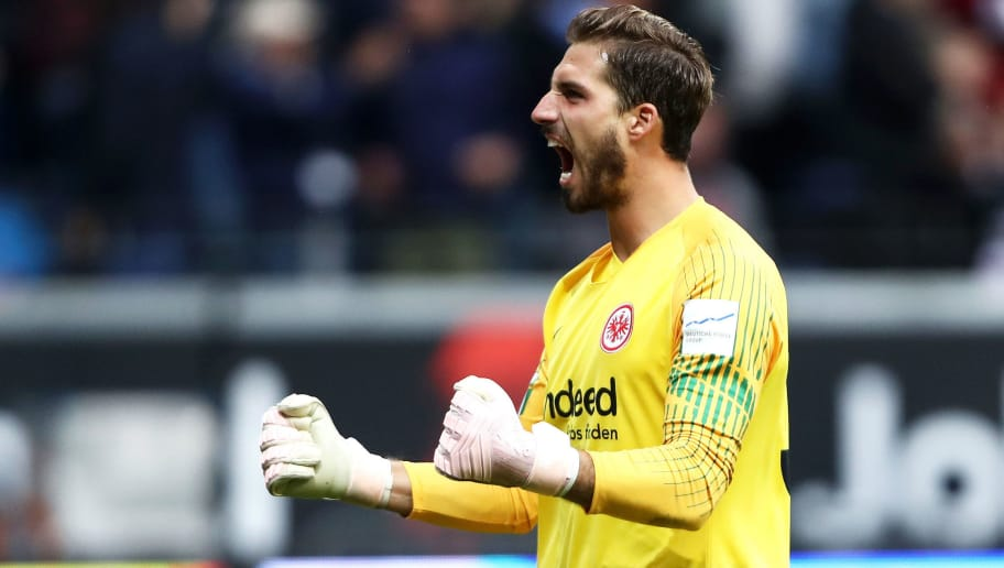 FRANKFURT AM MAIN, GERMANY - SEPTEMBER 23:  Kevin Trapp of Eintracht Frankfurt celebrates after Gelson Fernandes of Eintracht Frankfurt scores his team's first goal during the Bundesliga match between Eintracht Frankfurt and RB Leipzig at Commerzbank-Arena on September 23, 2018 in Frankfurt am Main, Germany.  (Photo by Alex Grimm/Bongarts/Getty Images)
