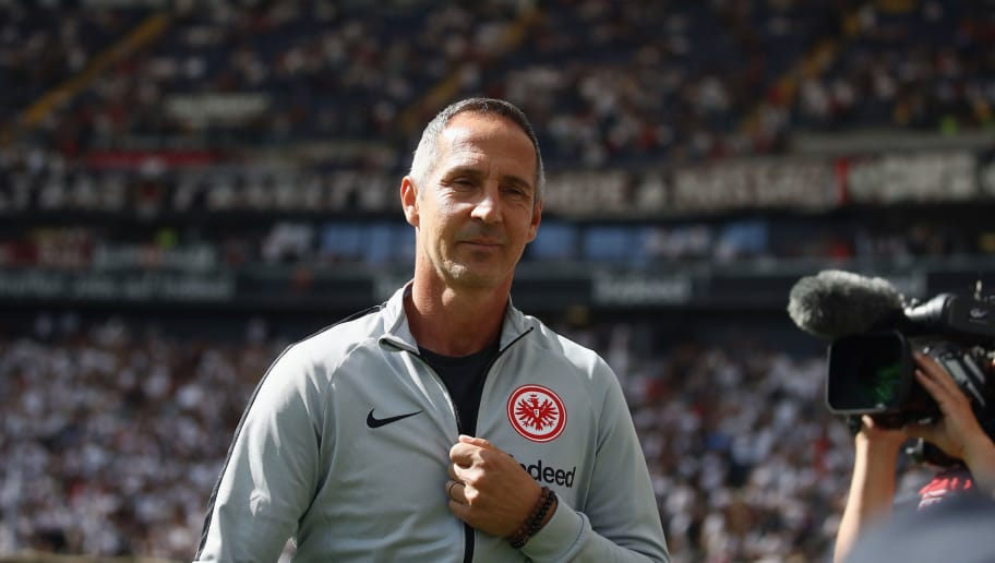 FRANKFURT AM MAIN, GERMANY - SEPTEMBER 01:  Head coach Adi Huetter of Frankfurt looks on prior to the Bundesliga match between Eintracht Frankfurt and SV Werder Bremen at Commerzbank-Arena on September 1, 2018 in Frankfurt am Main, Germany.  (Photo by Alex Grimm/Bongarts/Getty Images)