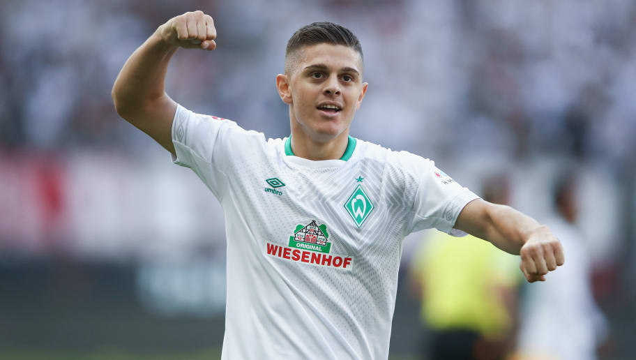 FRANKFURT AM MAIN, GERMANY - SEPTEMBER 01:  Milot Rashica of Bremen celebrates after the Bundesliga match between Eintracht Frankfurt and SV Werder Bremen at Commerzbank-Arena on September 1, 2018 in Frankfurt am Main, Germany.  (Photo by Alex Grimm/Bongarts/Getty Images)