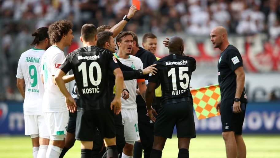 FRANKFURT AM MAIN, GERMANY - SEPTEMBER 01:  Jetro Willems of Eintracht Frankfurt is shown a red card by referee Sören Storks during the Bundesliga match between Eintracht Frankfurt and SV Werder Bremen at Commerzbank-Arena on September 1, 2018 in Frankfurt am Main, Germany.  (Photo by Alex Grimm/Bongarts/Getty Images)