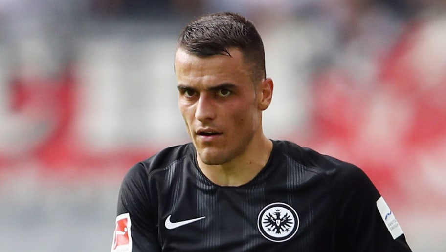 FRANKFURT AM MAIN, GERMANY - SEPTEMBER 01: Filip Kostic of Frankfurt reacts during the Bundesliga match between Eintracht Frankfurt and SV Werder Bremen at Commerzbank-Arena on September 1, 2018 in Frankfurt am Main, Germany.  (Photo by Alex Grimm/Bongarts/Getty Images)