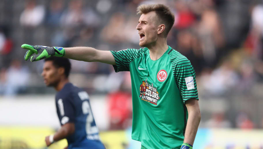 FRANKFURT AM MAIN, GERMANY - APRIL 08: Goalkeeper Lukas Hradecky of Frankfurt reacts during the Bundesliga match between Eintracht Frankfurt and TSG 1899 Hoffenheim at Commerzbank-Arena on April 8, 2018 in Frankfurt am Main, Germany.  (Photo by Alex Grimm/Bongarts/Getty Images)
