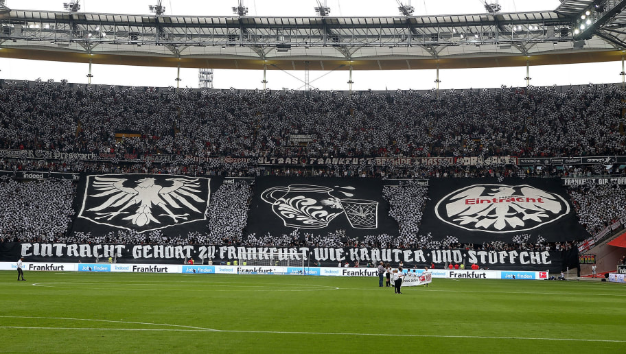 FRANKFURT AM MAIN, GERMANY - SEPTEMBER 30: Fans of Frankfurt are seen during the Bundesliga match between Eintracht Frankfurt and VfB Stuttgart at Commerzbank-Arena on September 30, 2017 in Frankfurt am Main, Germany. (Photo by TF-Images/Getty Images)