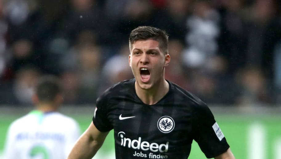 FRANKFURT AM MAIN, GERMANY - DECEMBER 02: Luka Jovic of Eintracht Frankfurt reacts during the Bundesliga match between Eintracht Frankfurt and VfL Wolfsburg at Commerzbank-Arena on December 2, 2018 in Frankfurt am Main, Germany.  (Photo by Alex Grimm/Bongarts/Getty Images)
