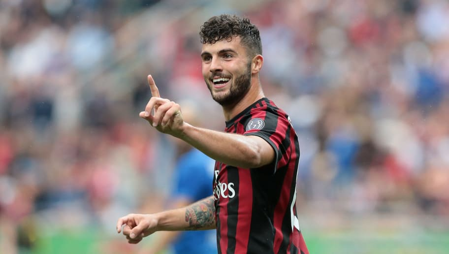MILAN, ITALY - MAY 20:  Patrick Cutrone of AC Milan gestures during the serie A match between AC Milan and ACF Fiorentina at Stadio Giuseppe Meazza on May 20, 2018 in Milan, Italy.  (Photo by Emilio Andreoli/Getty Images)