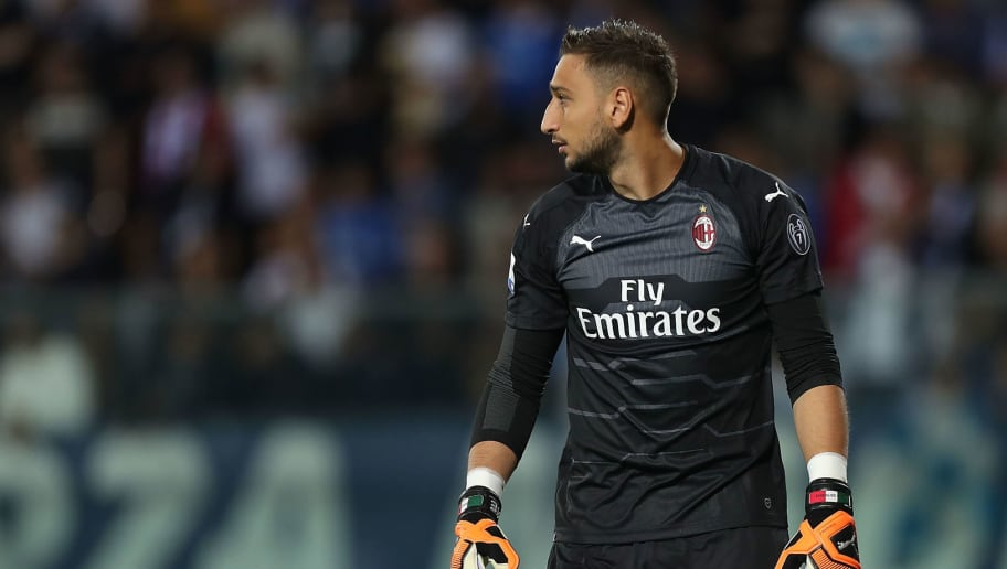 EMPOLI, ITALY - SEPTEMBER 27: Gianluigi Donnarumma of AC Milan looks on during the serie A match between Empoli and AC Milan at Stadio Carlo Castellani on September 27, 2018 in Empoli, Italy.  (Photo by Gabriele Maltinti/Getty Images)
