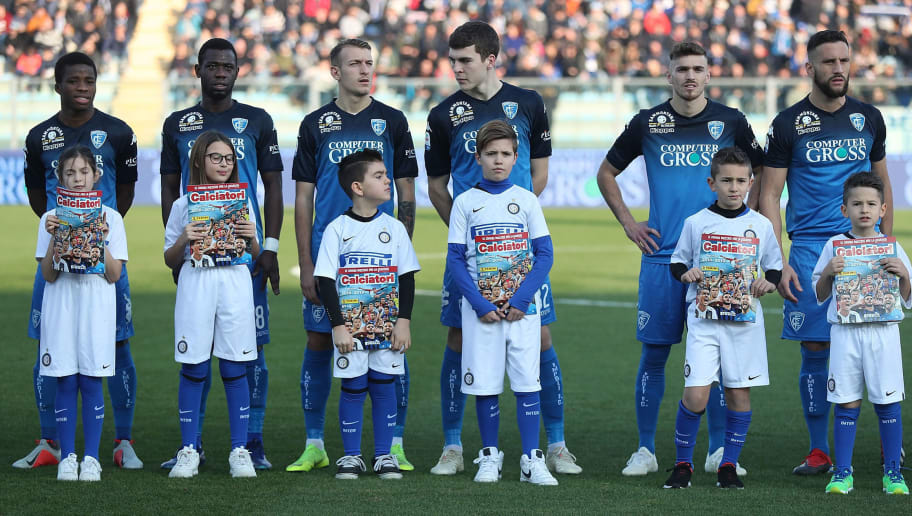 EMPOLI, ITALY - DECEMBER 29: The new album of collectible traiding cards Calciatori Panini 2018/2019 is distributed during the Serie A match between Empoli and FC Internazionale at Stadio Carlo Castellani on December 29, 2018 in Empoli, Italy.  (Photo by Gabriele Maltinti/Getty Images)