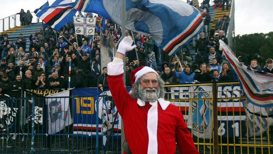 EMPOLI, ITALY - DECEMBER 22: Santa Claus during the Serie A match between Empoli and UC Sampdoria at Stadio Carlo Castellani on December 22, 2018 in Empoli, Italy.  (Photo by Gabriele Maltinti/Getty Images)