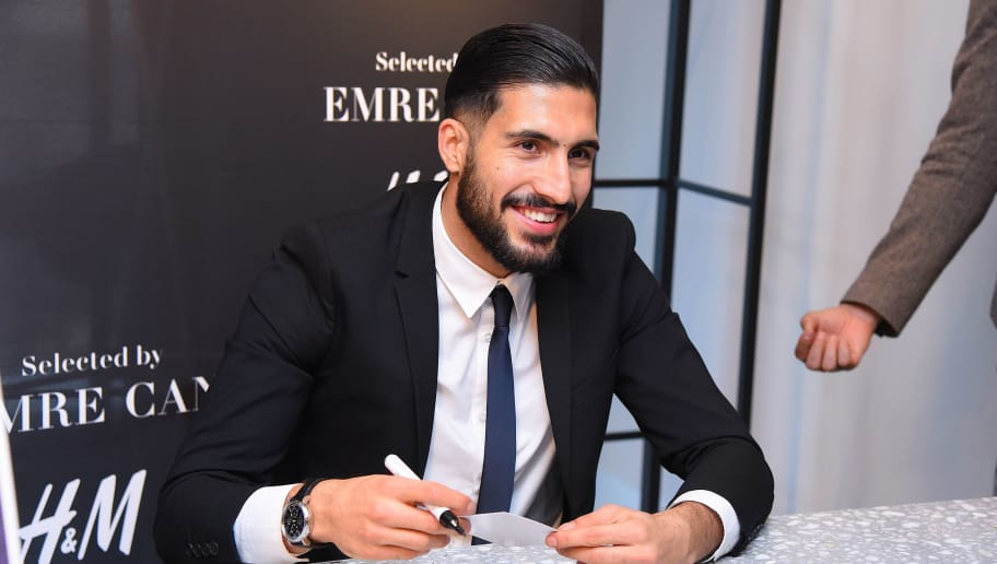 FRANKFURT AM MAIN, GERMANY - MARCH 12: German footballer Emre Can presents his new collection in cooperation with H&M at H&M store Auf der Zeil on March 12, 2018 in Frankfurt am Main, Germany. (Photo by Tristar Media/Getty Images)