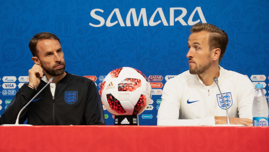 SAMARA, RUSSIA - JULY 06:  Gareth Southgate, Manager of England and Harry Kane of England speak during an England press conference at Samara Arena on July 6, 2018 in Samara, Russia.  (Photo by Matthias Hangst/Getty Images)